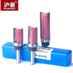 HUHAO 1pc Bearing Flush Trim Router Bit For Wood 8mm  Shank Straight Bit Tungsten Woodworking Milling Trimming CNC Cutter Tool