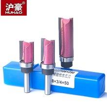 Huhao 1Pc Lager Flush Trim Router Bit Voor Hout 8Mm Shank Straight Bit Tungsten Houtbewerking Frezen Trimmen Cnc cutter Tool