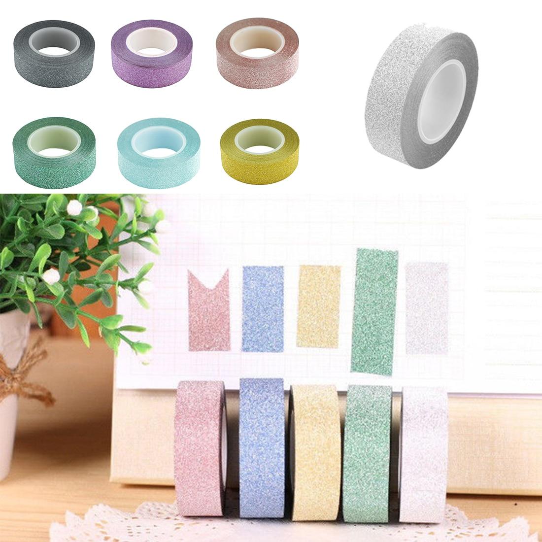 Lindo 5 M DIY Auto-adhesivo de Cinta de Papel Washi Glitter Sticker Decoración F