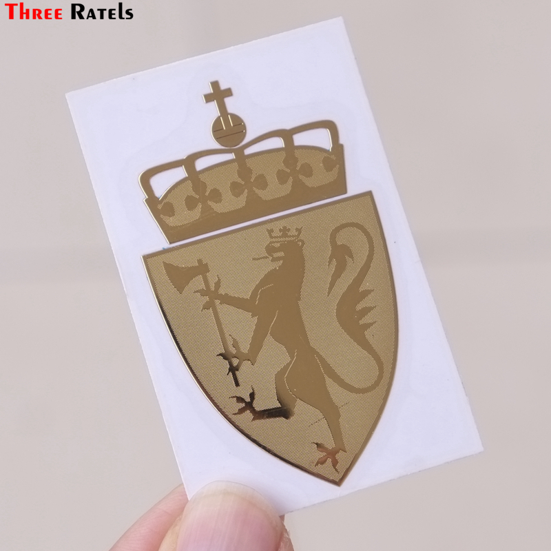 Three Ratels MT-045# 60*35mm 1-2 Pieces The Norway Coat Of Arms Metal Golden Nickel Car Sticker Auto Car Stickers