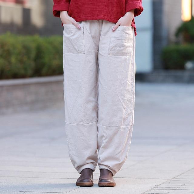 Johnature Women Plus Cotton Wide Leg Pants Vintage Cotton Linen Trouser 2019 Winter New Pockets Loose Warm Elastic Waist Pants