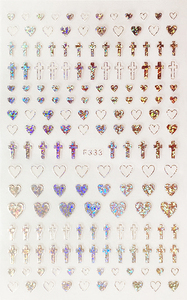 Image 5 - 1 Sheet 4 Colors Empty Solid Cross Heart Shape Self Adhesive Nail Art Stickers DIY Tips F333#