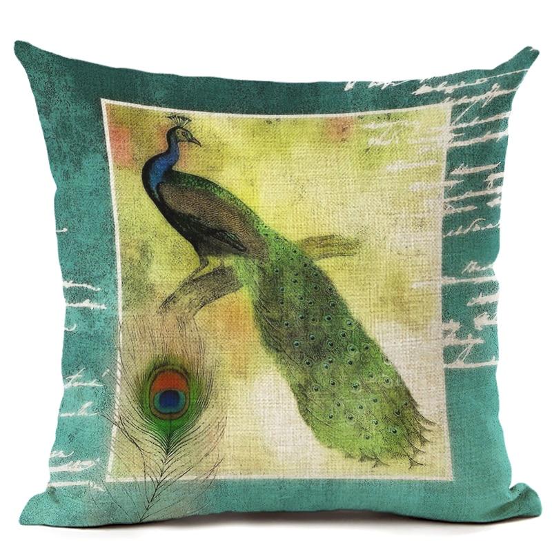 Bird Printed Cotton Linen Pillowcase Decorative Pillows Cushion Cover Use For Home Sofa Car Office Almofadas Cojines