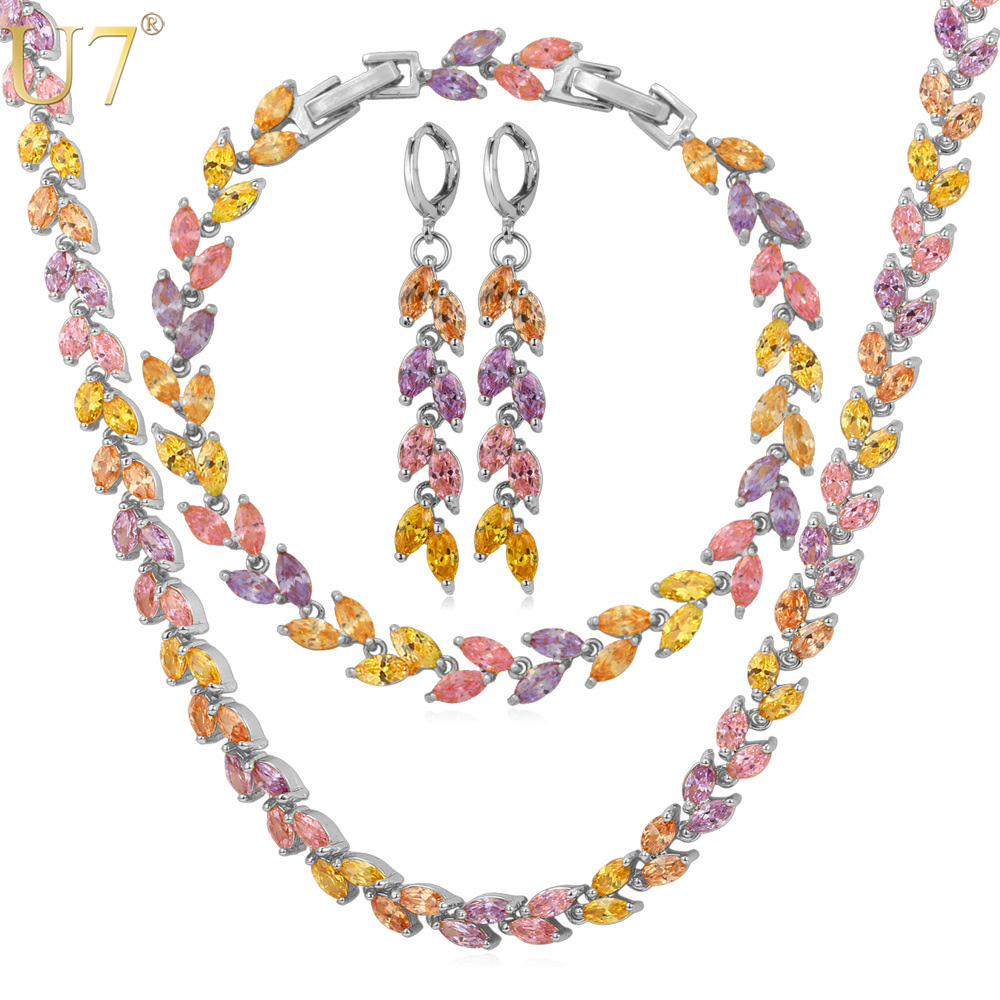U7 Noble Leaf Wedding Necklace Set Yellow Gold Color Trendy Necklace Earrings Bracelet Bridal Jewelry Set For Women S581 pair of trendy rhinestone oval leaf earrings for women page 7