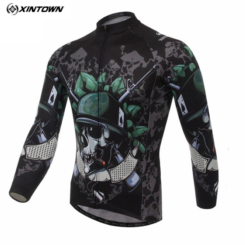 XINTOWN Mens Team Skeleton Soldier Long Sleeve T-shirt Shirt Bike Bicycle Riding Top Cycling Jersey