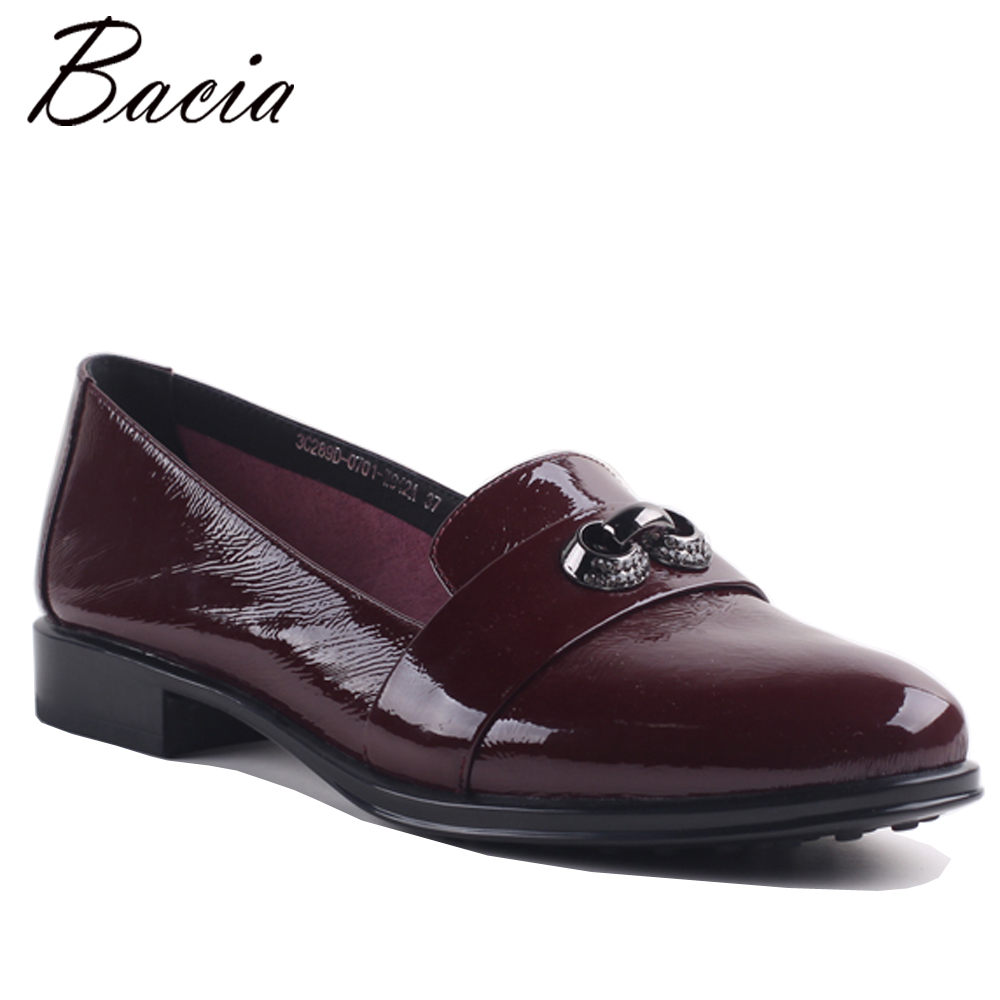 Bacia Woman 2017 Genuine Leather Flats Women Shoes Flats 3 Colors Loafers Slip On Women's Flat Shoes Moccasins Footwear MB010 2017 new leather women flats moccasins loafers wild driving women casual shoes leisure concise flat in 7 colors footwear 918w