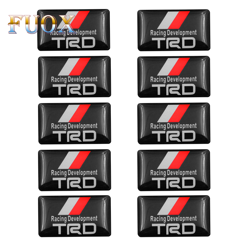 10pcs Car Styling Emblem Badge Sticker Steering Wheel Decal For Toyota CROWN REIZ TRD Racing LOGO Tire Accessories Car-styling
