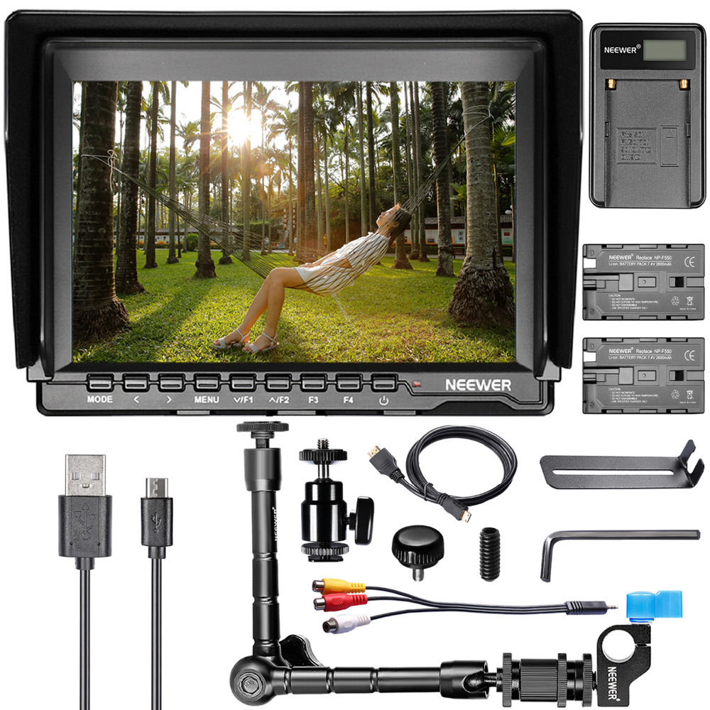 Neewer NW759 HD Camera Monitor Kit F550 Replacement Batterys for Sony Canon Nikon Camera Field Monitor USB Charger Magic Arm aputure digital 7inch lcd field video monitor v screen vs 1 finehd field monitor accepts hdmi av for dslr