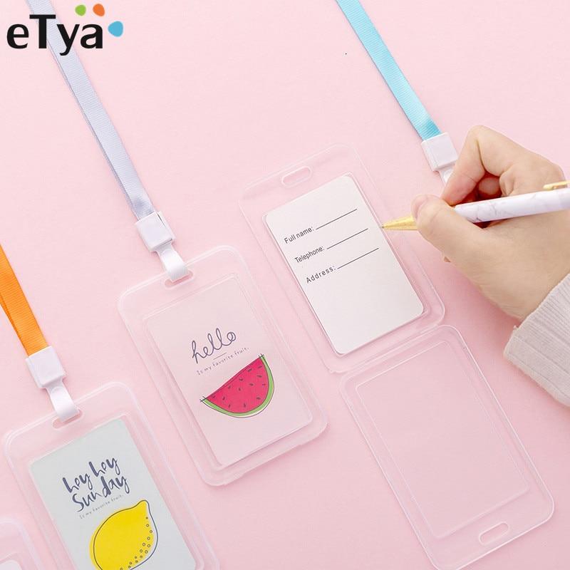 ETya Fruit Style Student Card Holder Bag Women Men Work ID Bus Identity Credit Card Cover Bag Case Retractable Badge String