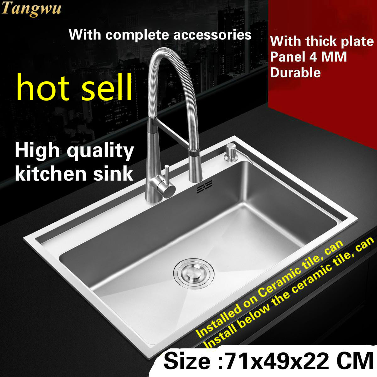 Tangwu High quality food grade 4 mm thickness of 304 stainless steel kitchen sink handmade single slot 71x49x22 CMTangwu High quality food grade 4 mm thickness of 304 stainless steel kitchen sink handmade single slot 71x49x22 CM