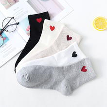 Hot sale Factory cotton direct love tube socks women peach heart  black white casual spot wholesale 2018