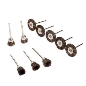 Image 3 - 10 adet Dremel Aksesuarları Parlatma Tekerlekleri fırça kiti Döner Araçları için Mini Matkap Metal Parlatma Parlatma Çapak Alma tekerlek fırçası
