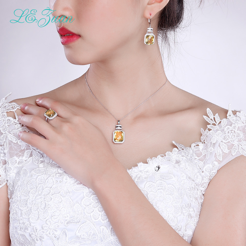 925 Sterling Silver Jewelry Ring Citrine Natural Yellow Stone Luxury ...