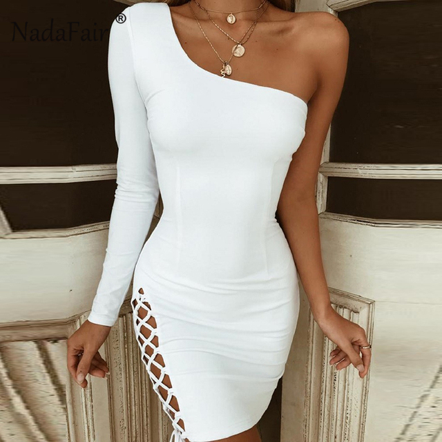 0b43d963091d Nadafair One Shoulder Mini Bandage Dress Lace Up Long Sleeve Bodycon Dress  Women White Black Red Sexy Party Club Dresses Female