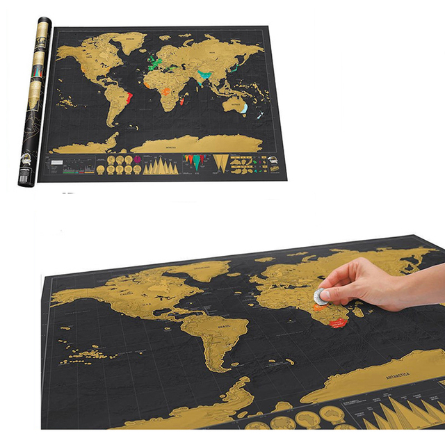 Black deluxe scratch map mini scratch off map travel world map black deluxe scratch map mini scratch off map travel world map birthday gift ideas 42x29 gumiabroncs Image collections