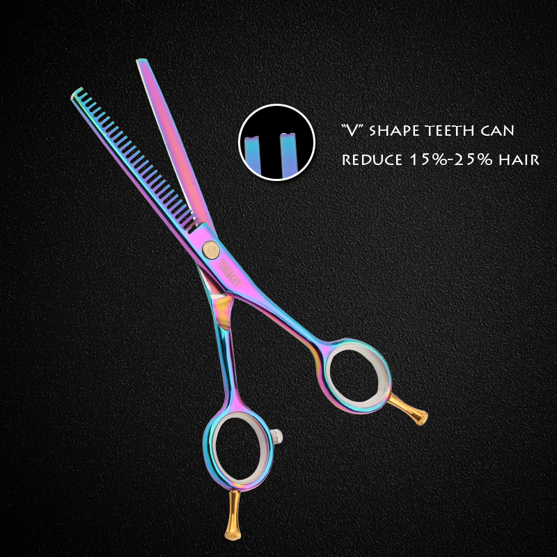 TONIGUY 5.5 Inch  Cutting Thinning Scissor Salon Hairdressing Set  Stainless Steel Hairscissor Regular V Shape 28 Teeth