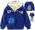2016 Nuevos Niños de la Marca bebé niños de algodón de dibujos animados capa con capucha prendas de abrigo abrigo de invierno chaqueta de color azul al por menor CS023