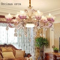 Luxury European style marble crystal chandelier, living room candle, duplex villa, bedroom restaurant, stair light Postage free