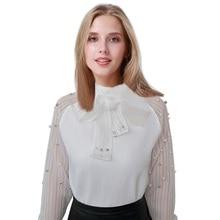 2017 Summer Elegant Organza Bow White Chiffon Shirt Bottoming Blouse Pearl White Chiffon Casual Women Shirt Tops Blouses Female