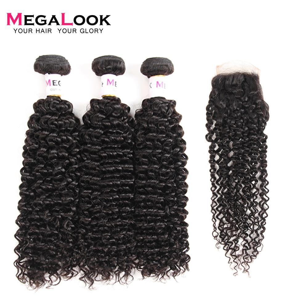 Megalook Humide et Ondulés Bundles avec Fermeture Malaisienne Crépus Bouclés Remy de Cheveux Humains avec Fermeture à Lacets