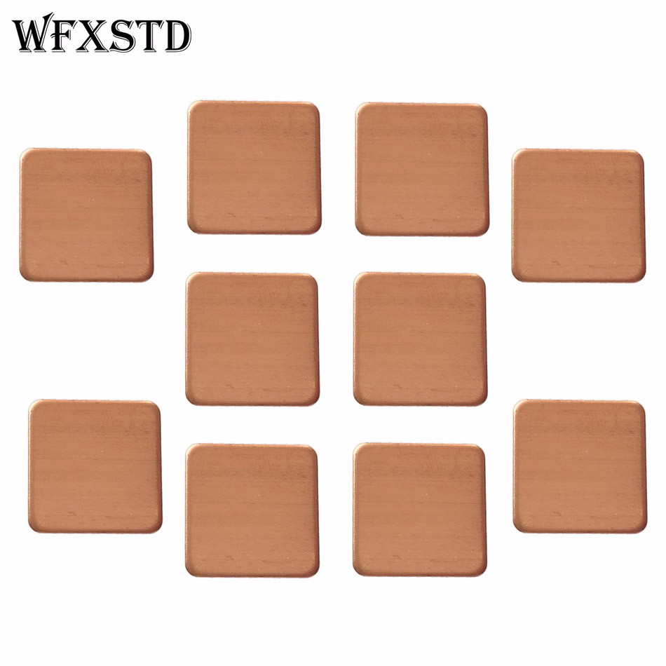 10pcs New 15*15*0.4mm Rounded Notebook Graphics Copper CPU Thermal Pad Cooling Red Copper notebook graphics card thermal conductivity copper cooling copper 30 30 3 0mm pure copper computer heat fins 30x30x3 0 radiator