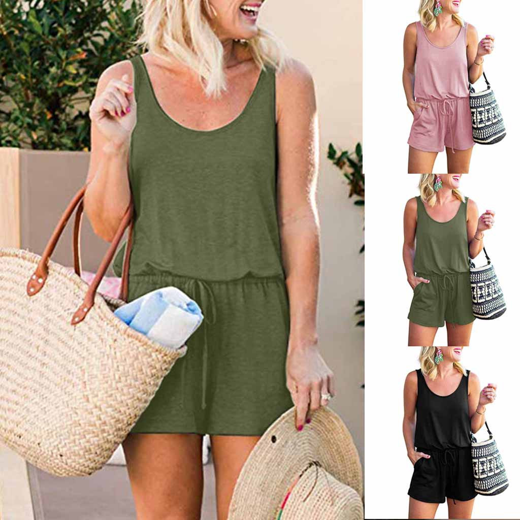 2019 Fashsiualy   jumpsuit   short summer Womens Summer Scoop Neck Sleeveless Tank Top Short   Jumpsuit   Rompers Overalls for women