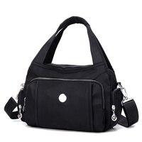 Solid Zipper Female Single Shoulder Big Handbag Fashion Girls Nylon Leather Bags Women Crescent Package Diagonal