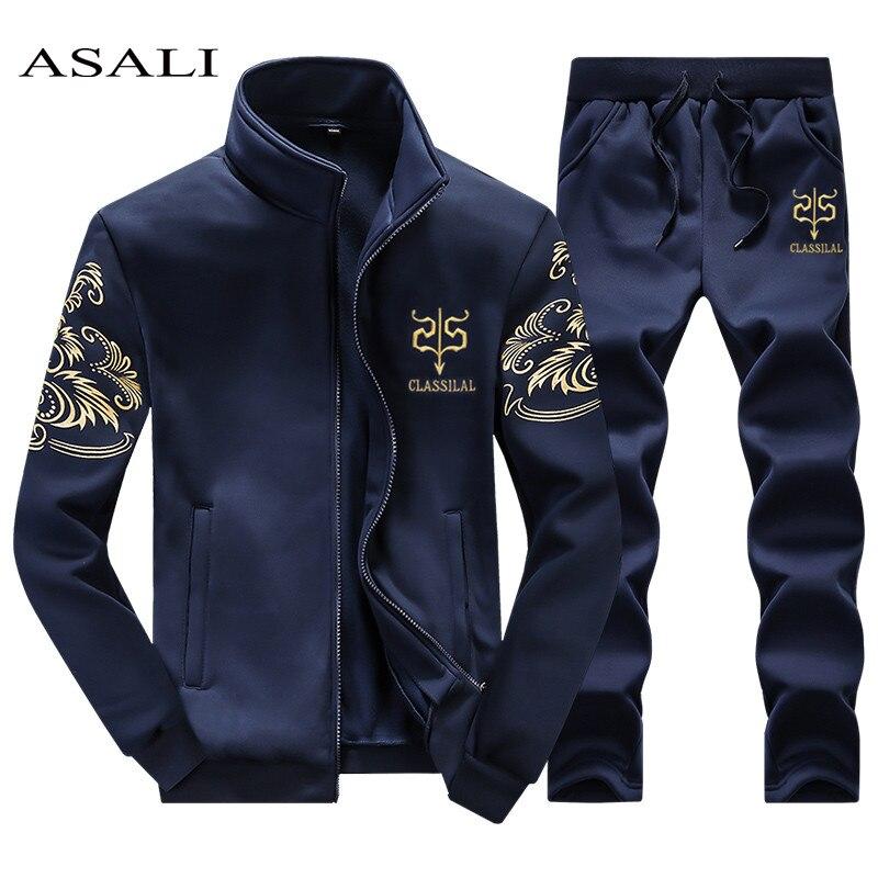 ASALI 2018 Men's Sportwear Suit Sweatshirt Tracksuit Without Hoodie Men Casual Active Suit Zipper Outwear 2PC Jacket+Pants Sets