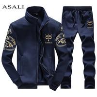 ASALI 2017 Men S Sportwear Suit Sweatshirt Tracksuit Without Hoodie Men Casual Active Suit Zipper Outwear