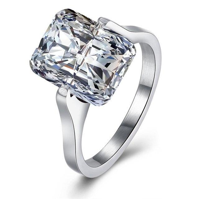 2017 Mode Weiss Kristall Quadrat Aaa Cz Diamanten Ring Titan
