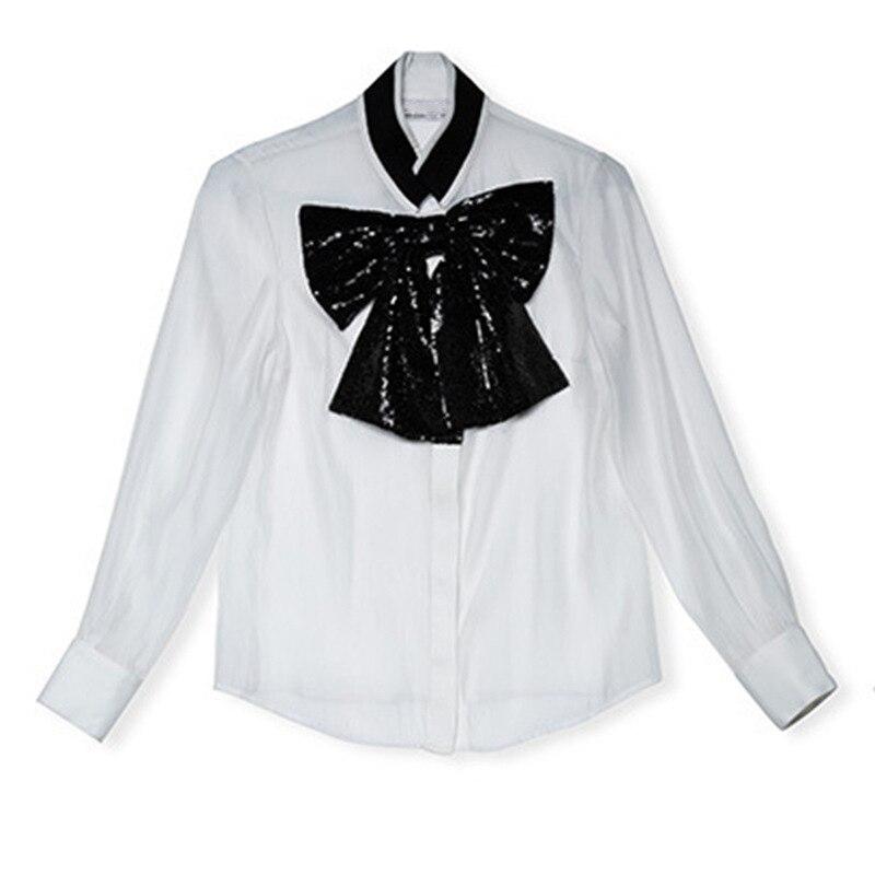 2019 D'été Mode Femmes Chemisier Blanc Élégant Bureau Dame Noir paillettes Arc Chemise Manches Lanterne Sexy perspective top en mousseline