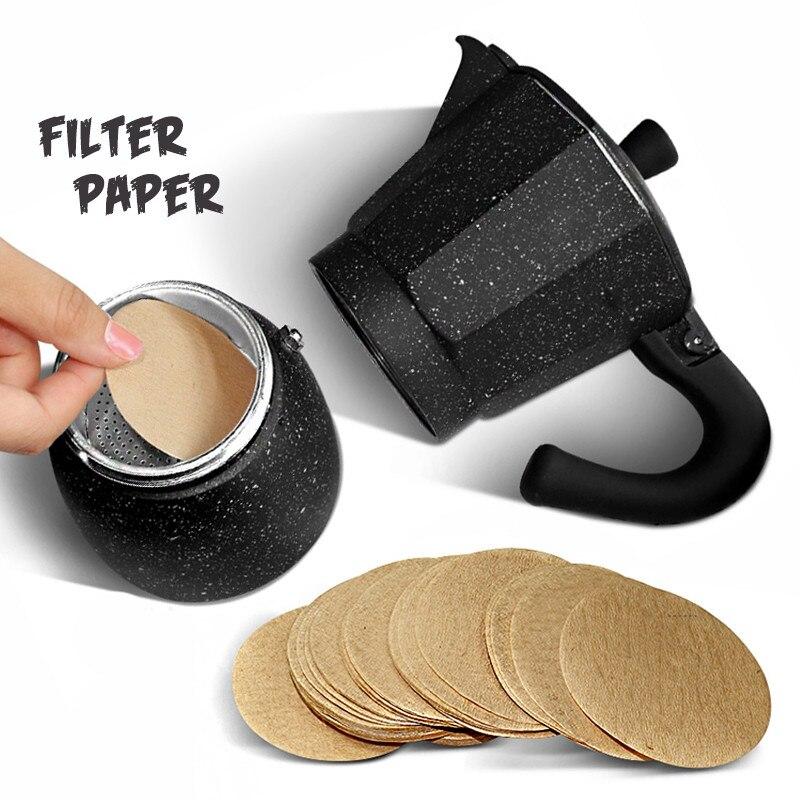 Деревянный Круглый капельный бумажный фильтр для кофе Moka Pot кофе эспрессо фильтр 100 ⑤ упак. ситечко для чая кофеварка