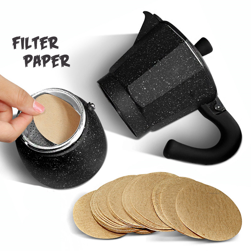 Wooden Round Drip Paper Coffee Filter Moka Pot Espresso Coffee Filter 100pc/pack Tea Strainer Tea Infuser Coffee Maker