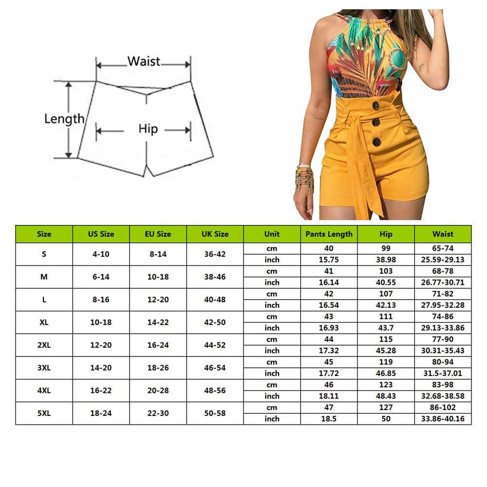 Wanita Tinggi Tombol Fashion Celana Pendek Musim Panas Wanita Kasual Peregangan Seksi Celana Pendek dengan Sabuk Ukuran Pendek Feminino
