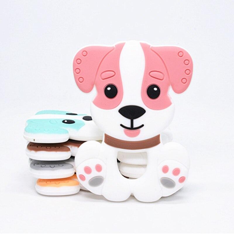 5 Pcs Baby Zubehör Silikon Zahnen Husky Hund Beißringe Lebensmittel Grade Baby Pflege Tier Halskette Cartoon Hund Beißringe