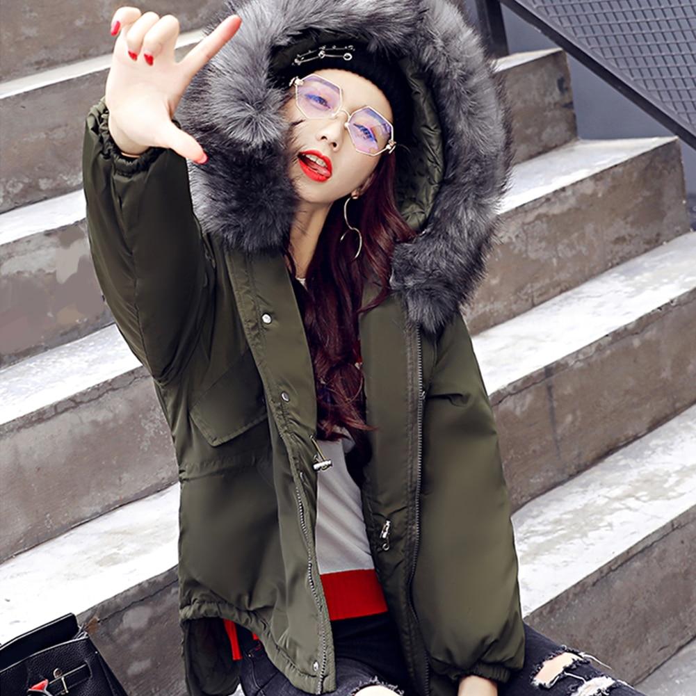 Cordon Chaud Doudoune Moyen Fourrure À royal Blue army pink Hiver Décontracté Femmes Longueur Col De Vêtements Grand Capuche Coton Green Épais Black Taille 8f5nYq