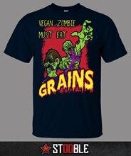"""Kick-ass """"Vegan Zombie must eat GRAINS"""" t-shirt"""