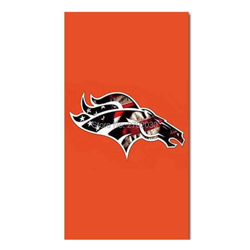 Denver Broncos Logo Vlag Helm Ontwerp Wereld Serie Voetbal Team