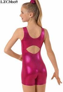Image 3 - LZCMsoft çocuk tankı Biketards jimnastik çocuklar metalik kolsuz bale mayoları bisiklet giyim sahne performansı kızlar için