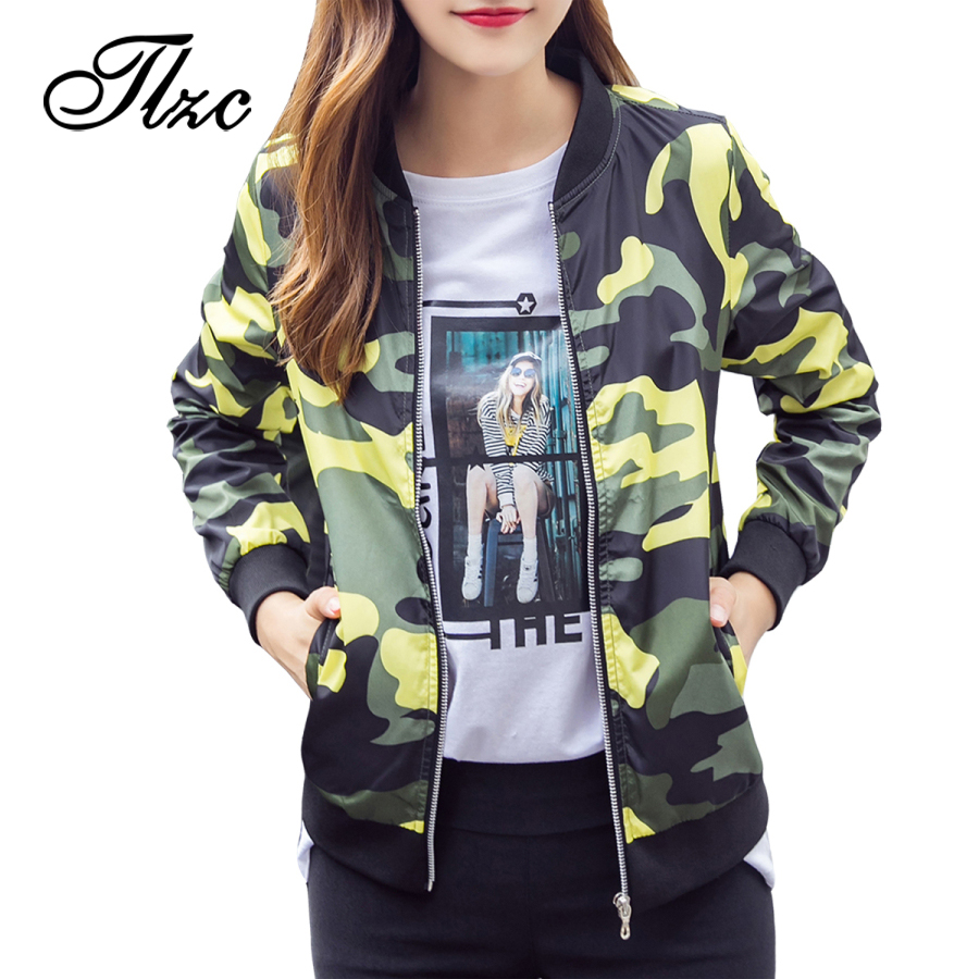 021b30774682c TLZC 2017 Military Women Bomber Jackets Plus size M 4XL Autumn Winter  Camouflage Casual Lady Basic Coat Loose Clothing-in Basic Jackets from  Women s ...