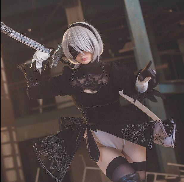 NieR: Automata Game heroine 2B Black Dress cosplay Costume Gratis - Carnavalskostuums - Foto 2