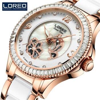 LOREO Fashion Women Diamonds Wrist Watches Ceramics And Steel Watchband Top Luxury Brand Dress Ladies Automatic Mechanical Clock