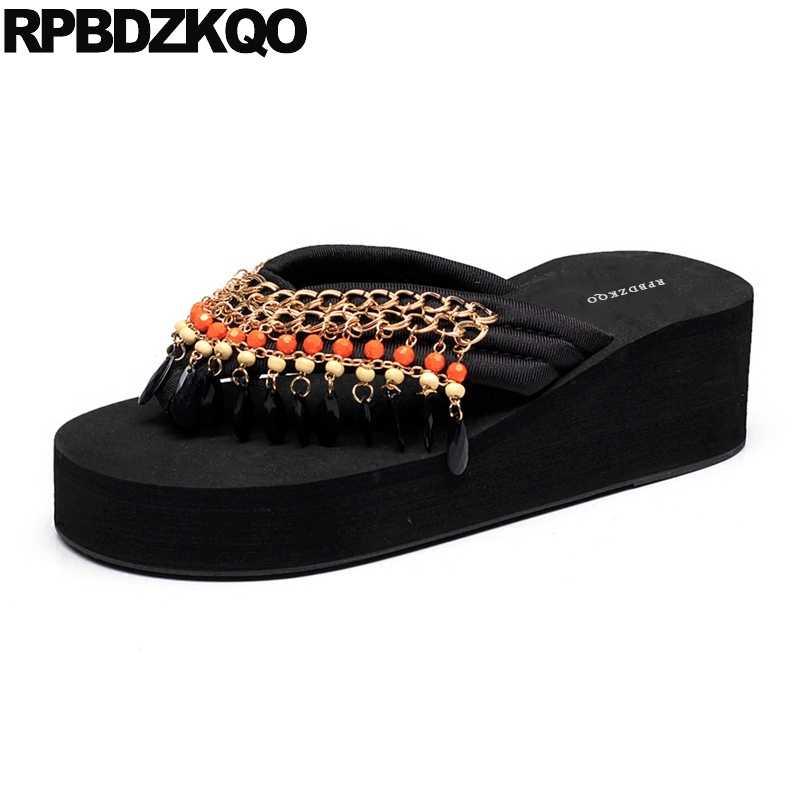 2330751fbb76e9 Flip Flop Slides Flatforms Chain 2018 Pearl High Heel Beaded Platform Sandals  Ladies Brand Designer Slippers