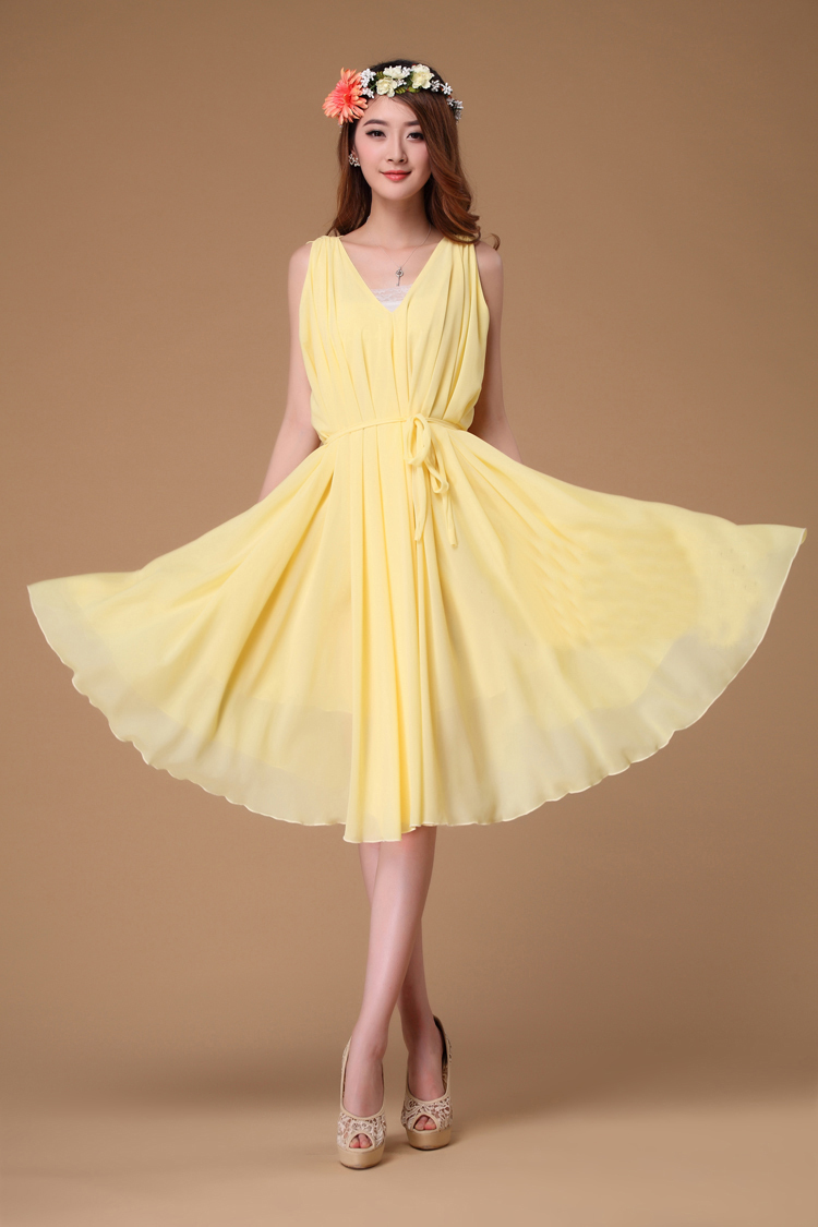 wedding dress bridal gown yellow wedding dress Yellow Floor Length Sweet 16 Dress L