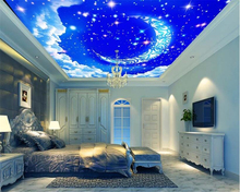 купить beibehang Beautiful personality wallpaper fantasy sky moon white clouds living room ceiling ceiling wallpaper for walls 3 d  по цене 1094.2 рублей