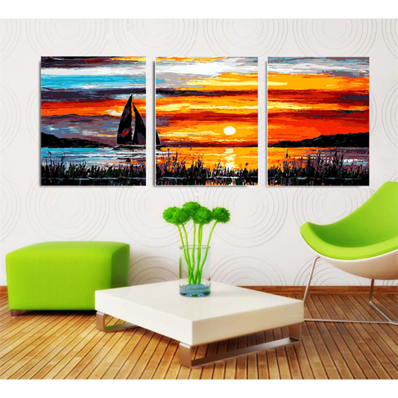 Lavender fields wall pictures for living room wall art home decor Triptych canvas oil painting by numbers