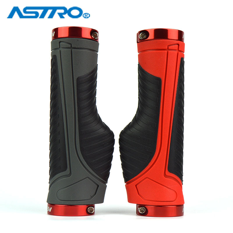 ASTRO Bicycle Handle Grips MTB Bike Lock Non Skid Ergonomics Design Handle Grip Alloy Rubber 22.2mm*130mm Bicycle Parts