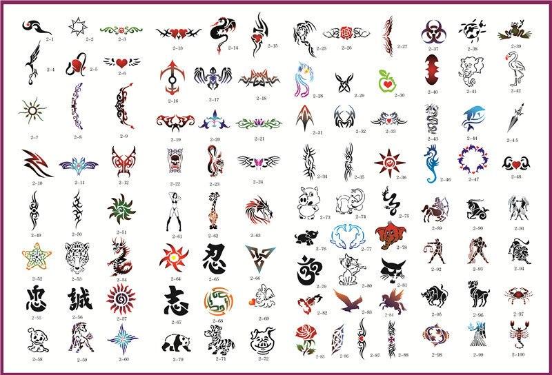 temporary tattoo sticker Temporary Airbrush Stencils For Body Art Paint Makeup Cosmetics 100 Designs tattoo supplies