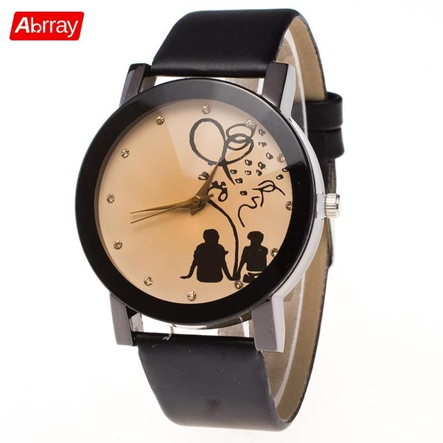 Abrray Romantic Couple Watch Quartz Watches For Lovers Sweet Pattern Wristwatch