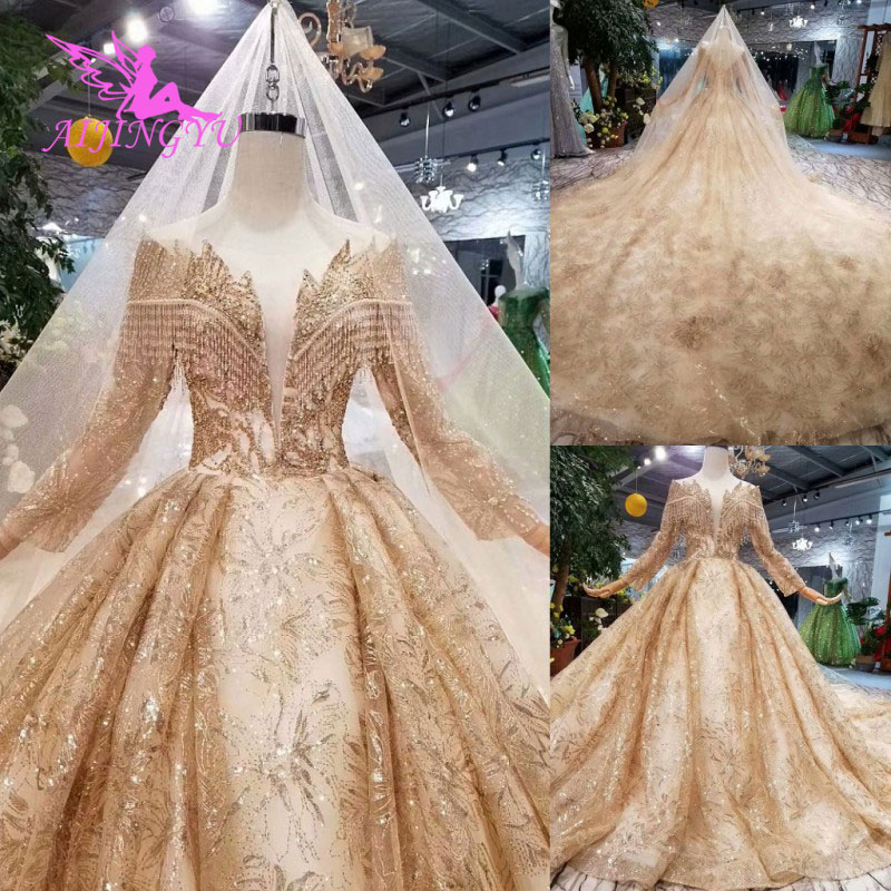 AIJINGYU Hand Wedding Indian Gown Lace With Long Train Crystal Boutiques Sexy Sale Plus Size Gown 2018 Bridal Party Dresses